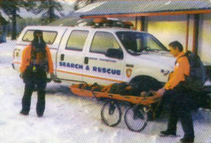 Search and Rescue using the Neet Kart as a Rescue cart in a backcountry training exercise.